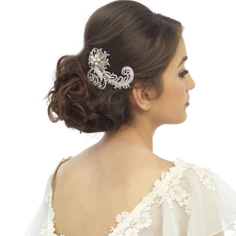Luxe Feather Crystal Bridal Hair Comb