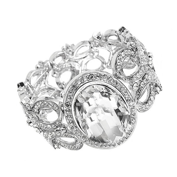 Luxurious Swarovski Crystal Cuff Bridal Bracelet