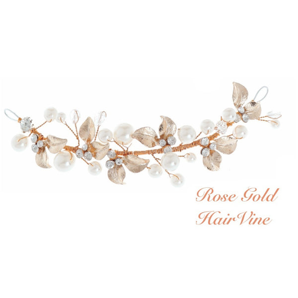 Mini Luxe Bridal Hair vine In Rose Gold
