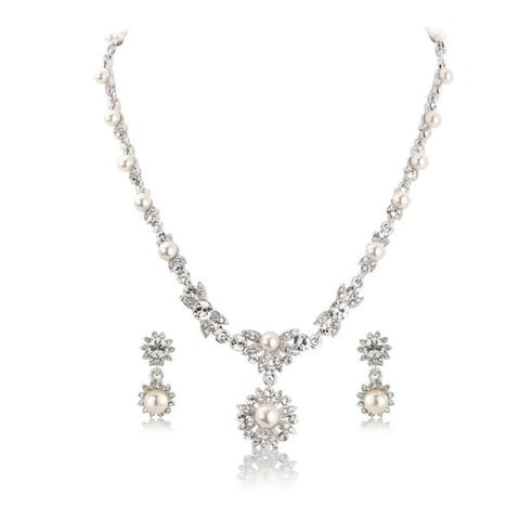 Pearlicious Crystal Necklace & Earrings Set
