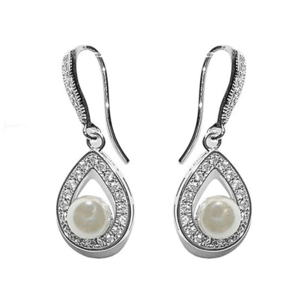 Precious Pearl Bridal Earrings In Silver