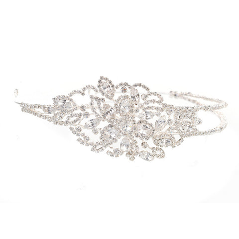 Wedding Side Headband With A magnificent Large Diamante Side Brooch
