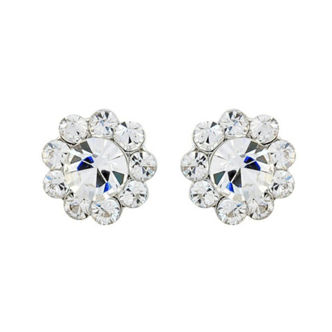Shimmer Crystal Flower Stud Bridal Earrings