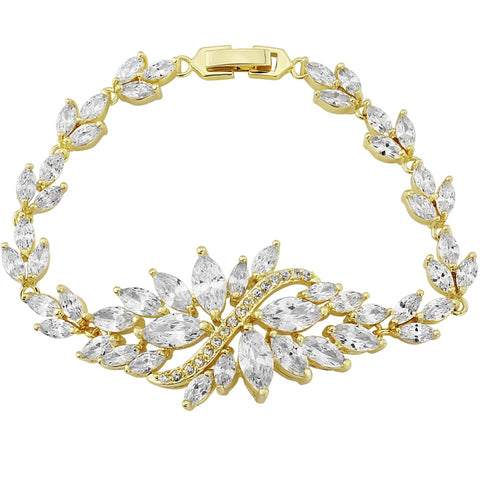 Crystal Statement Bridal Bracelet In Gold