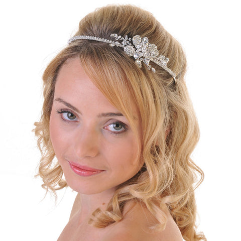 Wedding Side Headband Featuring A Brooch Centre