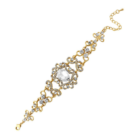 Vintage Inspired Chic Bridal Bracelet In Gold