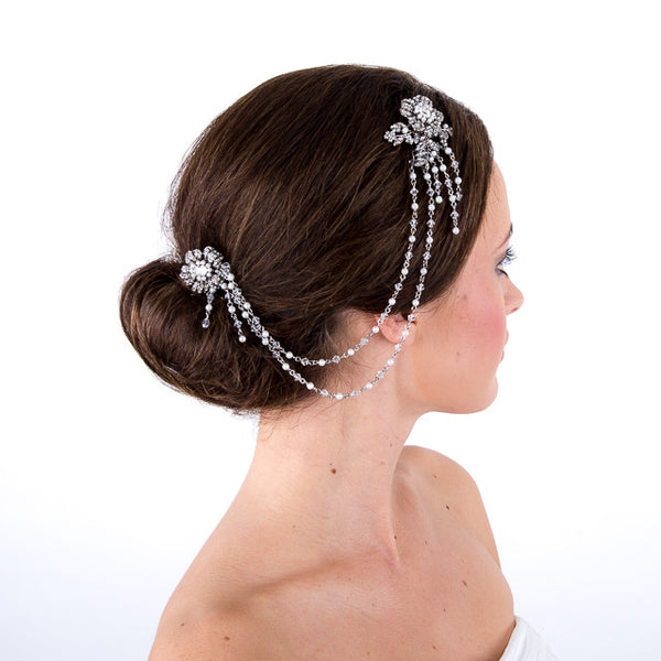 Hair Drape/Vine With Ivory Pearls & Crystals