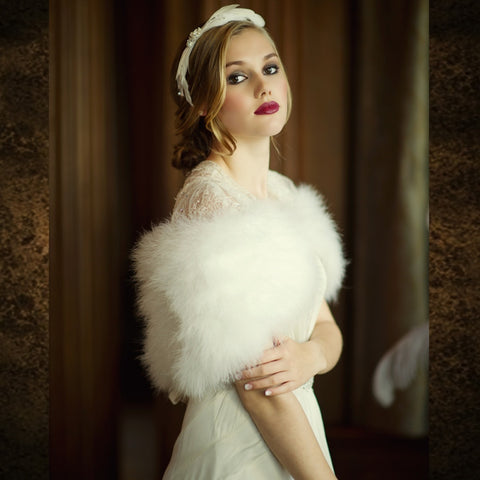 Vintage Inspired Marabou Feather Shrug In Ivory