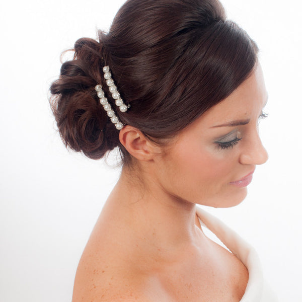 Pair Of Divine Pearl Wedding Hair Clips