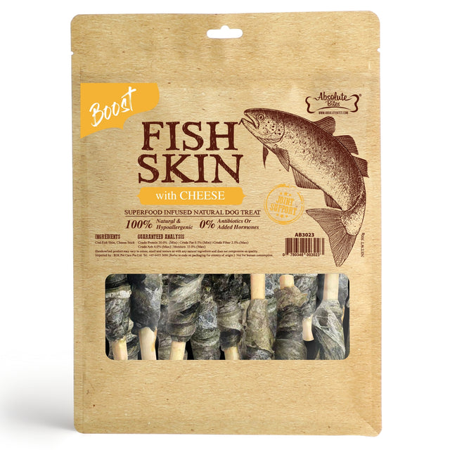 33% OFF [NEW]: Absolute Bites® Air-Dried Fish Skin with Cheese Dog Treats (2 sizes)