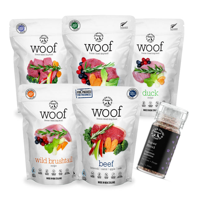 10 FOR $369 + FREE TREATS [PETSALE]: WOOF® Freeze-Dried Raw Dog Food 320g/280g (5 flavours)