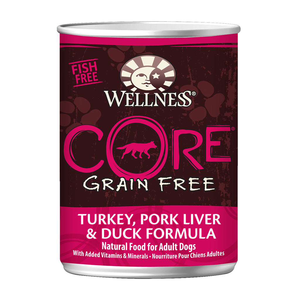 30% OFF + FREE TREATS: Wellness® CORE Turkey, Pork Liver & Duck Grain-Free Canned Dog Food 354g (12/24pcs)