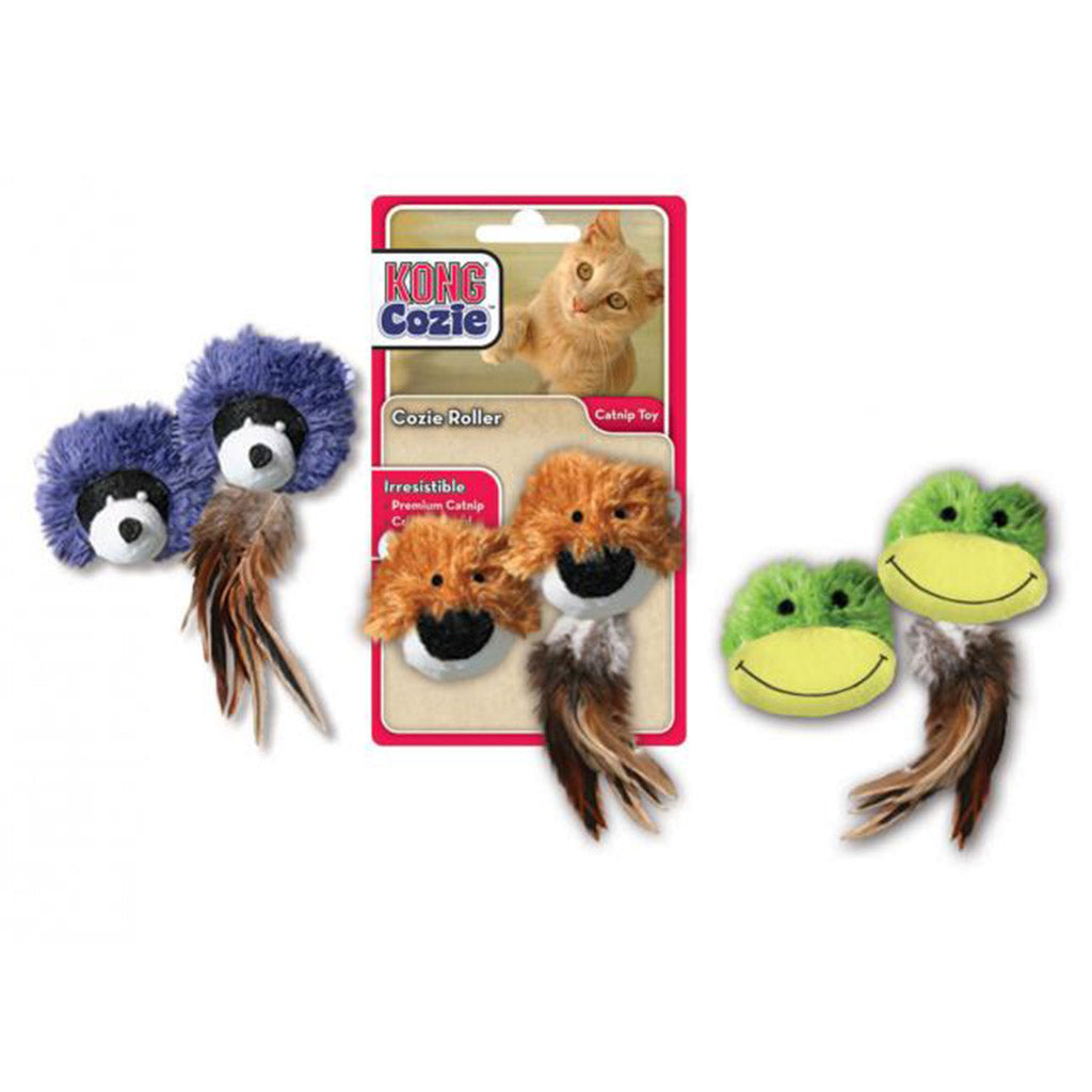 15% OFF: KONG® Cozie Rollers Catnip Frog / Raccoon / Bear Cat Toy