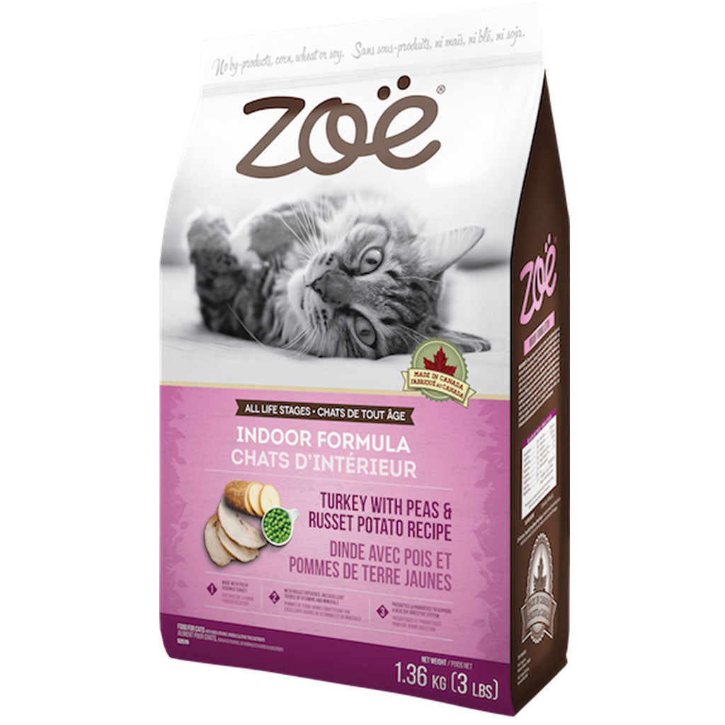 25% OFF: Zoë® Indoor Formula Turkey with Peas & Russet Potato Dry Cat Food (2 sizes)