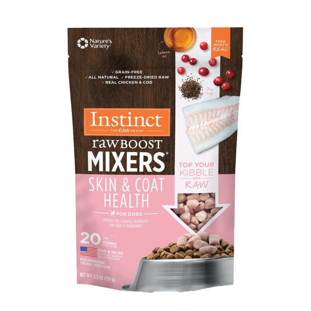 10% OFF [NEW]: Instinct® Raw Boost Mixers Skin & Coat Grain-Free Freeze-Dried Dog Food Topper (156g)