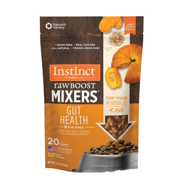 15% OFF + FREE MIXERS: Instinct® Raw Boost Mixers Gut Health Freeze-Dried Dog Food (156g)