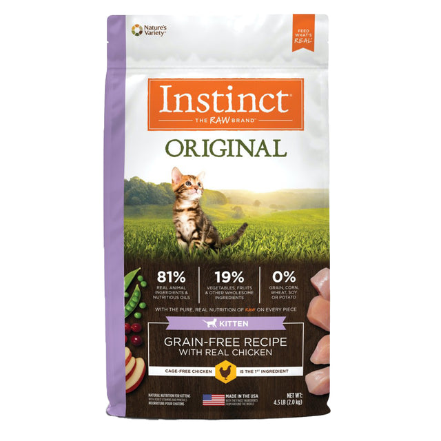 20% OFF + FREE MIXERS: Instinct® Original Kitten Grain-Free Chicken Dry Cat Food (2kg)