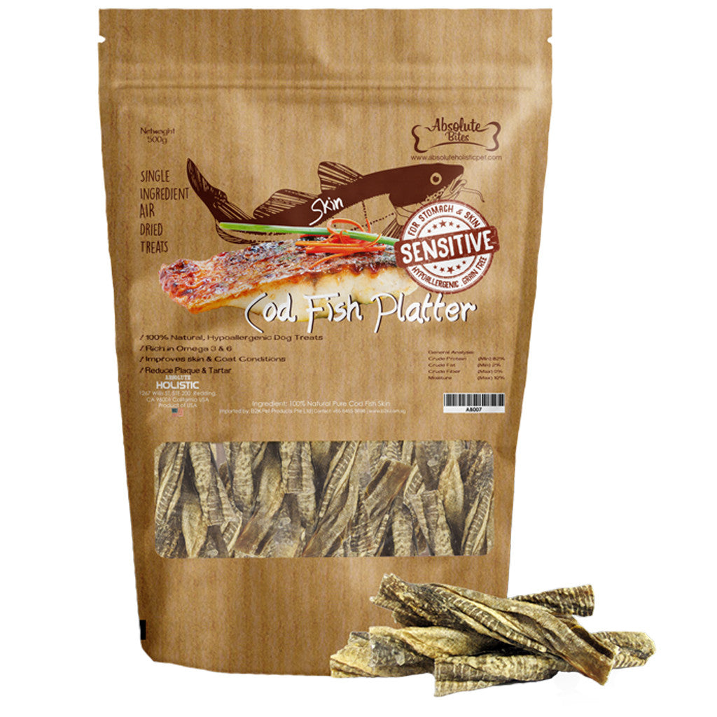 30% OFF: Absolute Bites® Air-Dried Cod Fish Platter Dog Treats (400g)