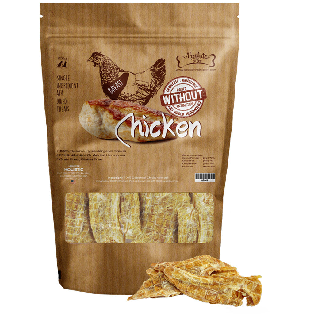 [BUY 2 FREE 1] Absolute Bites® Air-Dried Chicken Breast Dog Treats (170g)
