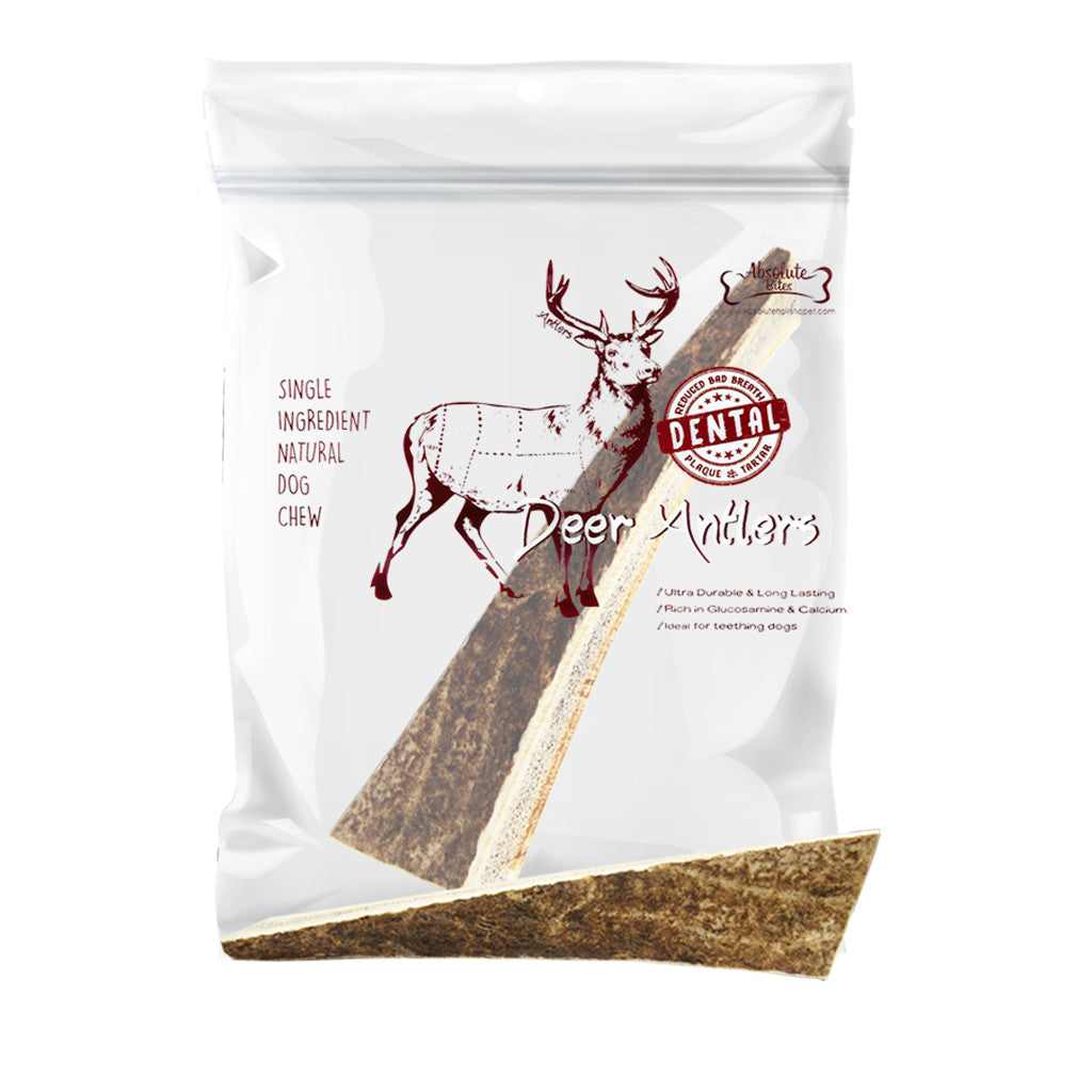15% OFF: Absolute Bites® Half Deer Antlers Dental Chew Dog Treats (3 sizes)