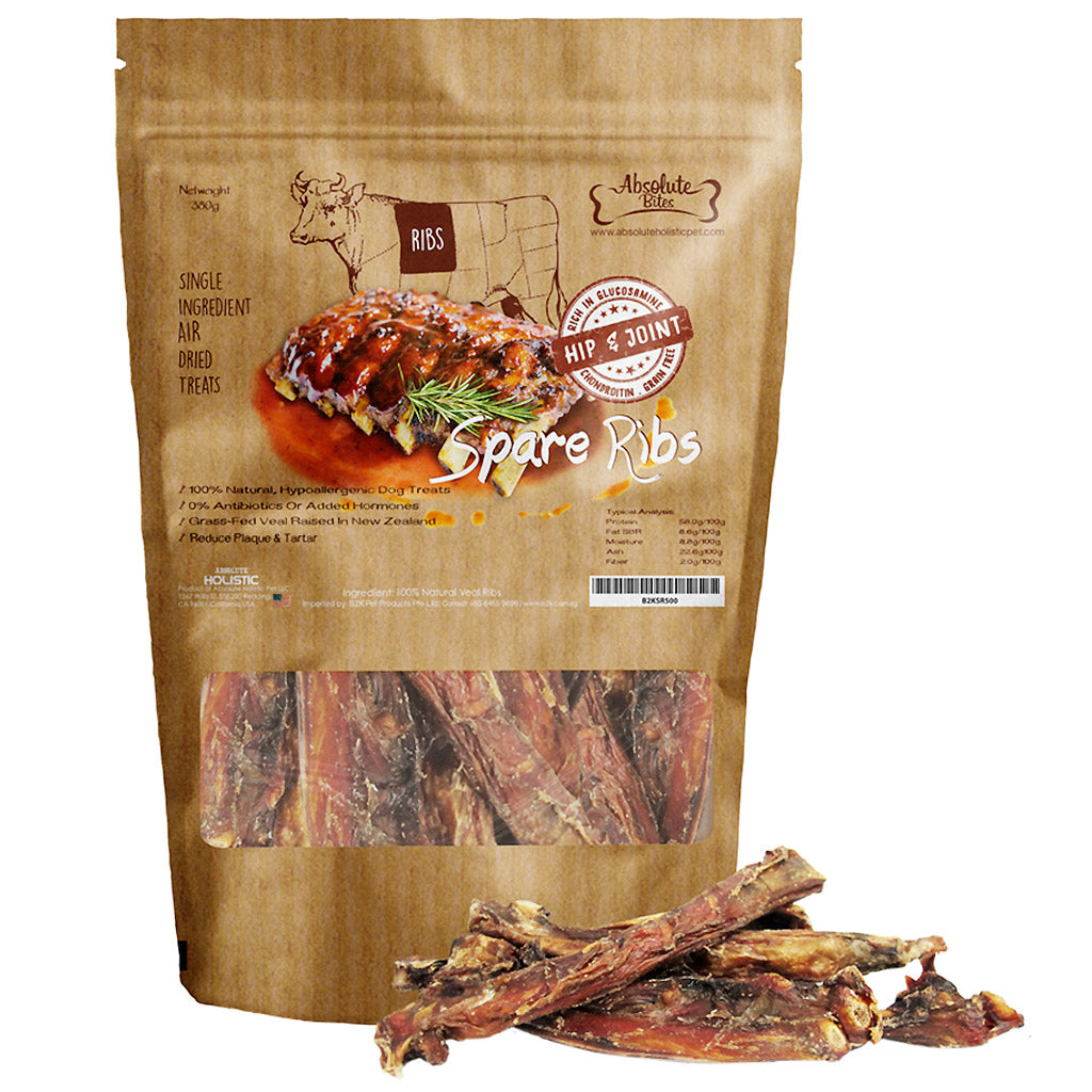 Absolute Bites® Air-Dried 100% Veal Spare Ribs Dog Treats (150/380g)