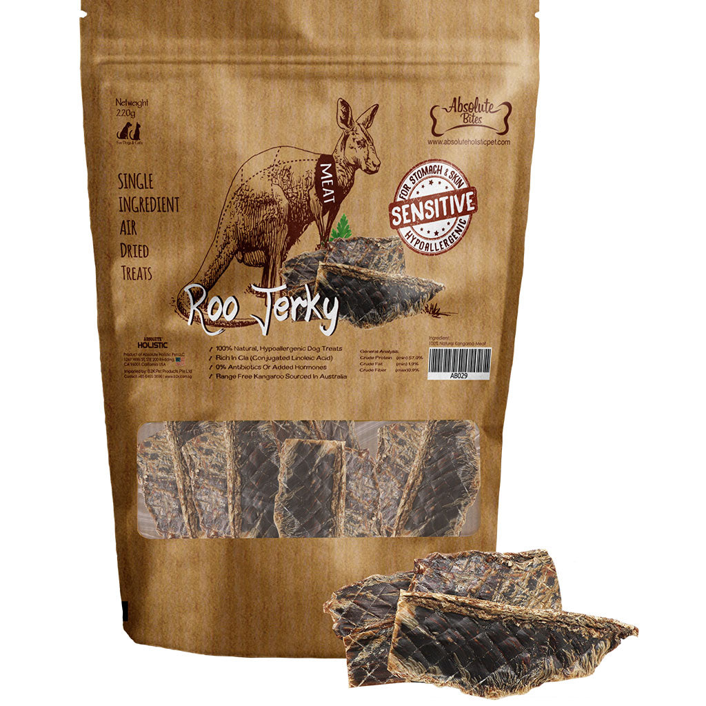 20% OFF: Absolute Bites® Air-Dried Roo Jerky Dog Treats (220g)