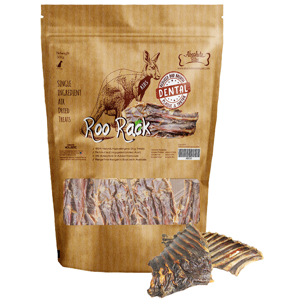 20% OFF: Absolute Bites® Air-Dried Roo Rack (Ribs) Dog Treats 300g