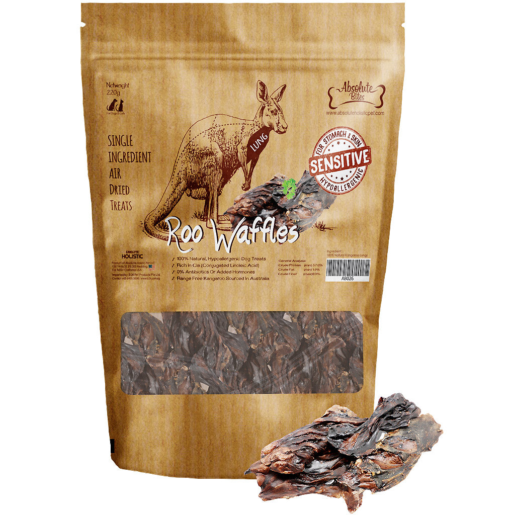 30% OFF: Absolute Bites® Air-Dried Roo Roast (Lungs) Dog Treats 220g