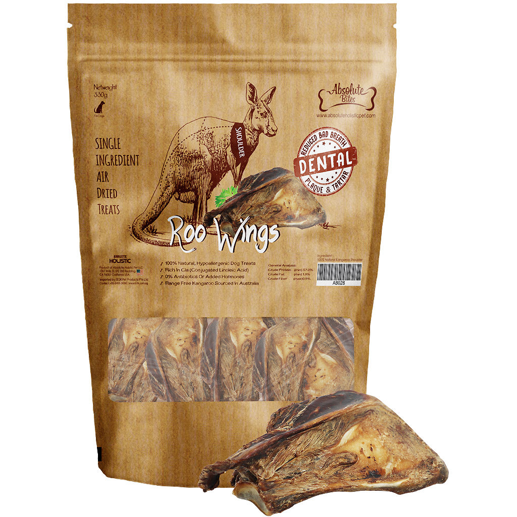 30% OFF: Absolute Bites® Air-Dried Roo Wings (Shoulder) Dog Treats 330g