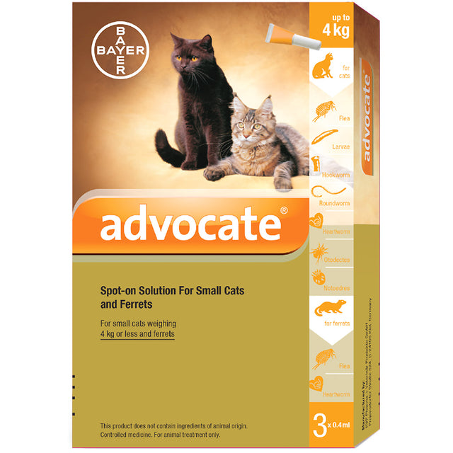 35% OFF: Advocate® Flea, Heartworm & Worms Treatment For Small Cats (<4kg)
