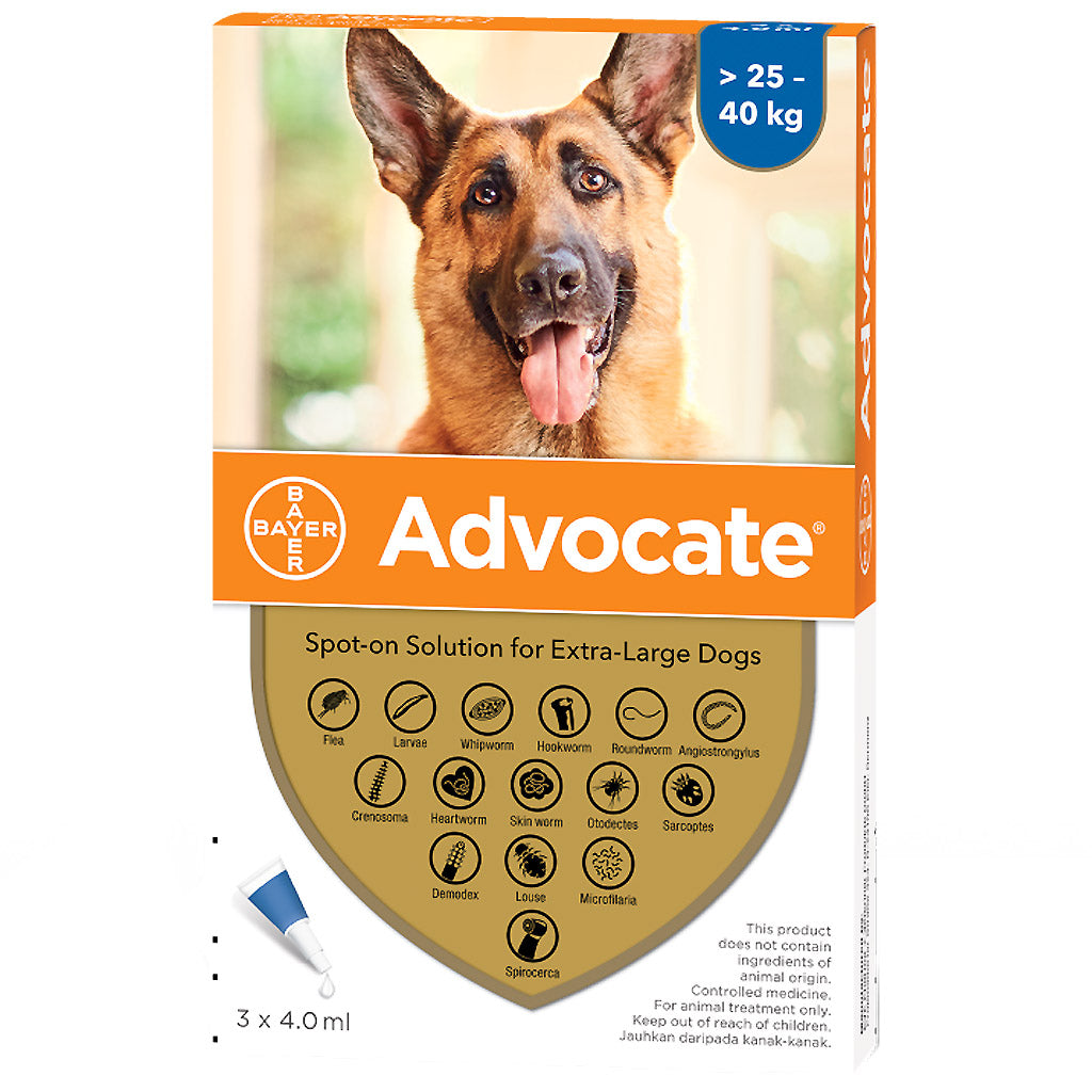 35% OFF: Advocate® Flea, Heartworm & Worms Treatment For Extra Large Dogs (25–40kg)