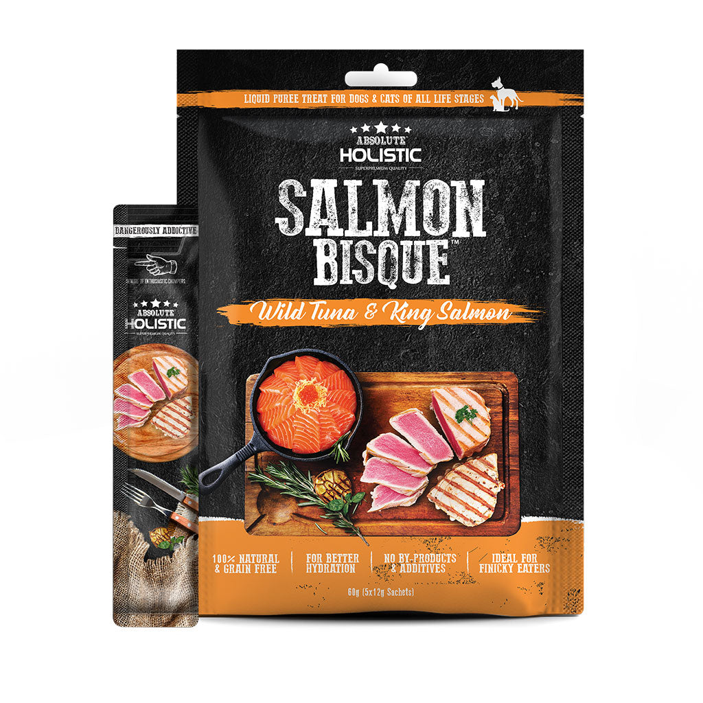 10% OFF: Absolute Holistic® Bisque Tuna & King Salmon Dog & Cat Treat (5x12g)