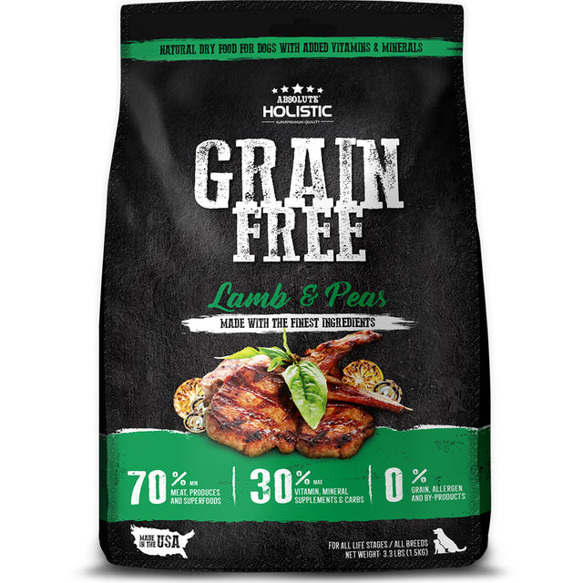 34% OFF + FREE BAG [NEW] Absolute Holistic® Lamb & Peas Grain-Free Dry Dog Food (3 sizes)