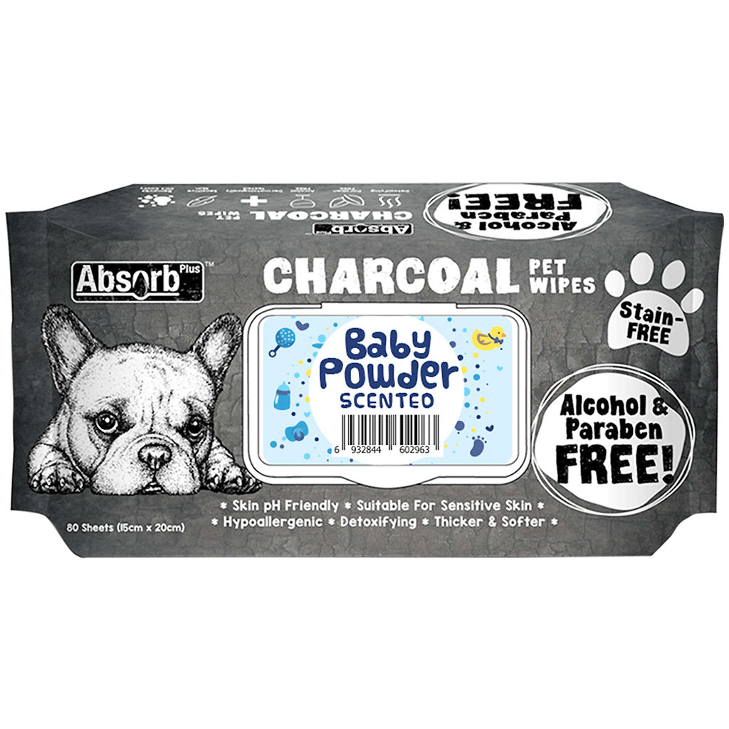 BUY 1 FREE 1: Absorb Plus® Charcoal Baby Powder Pet Wipes (80pcs)