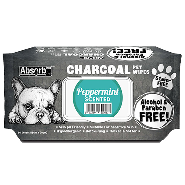 [BUY 1 FREE 1] Absorb Plus® Charcoal Peppermint Pet Wipes 80pcs