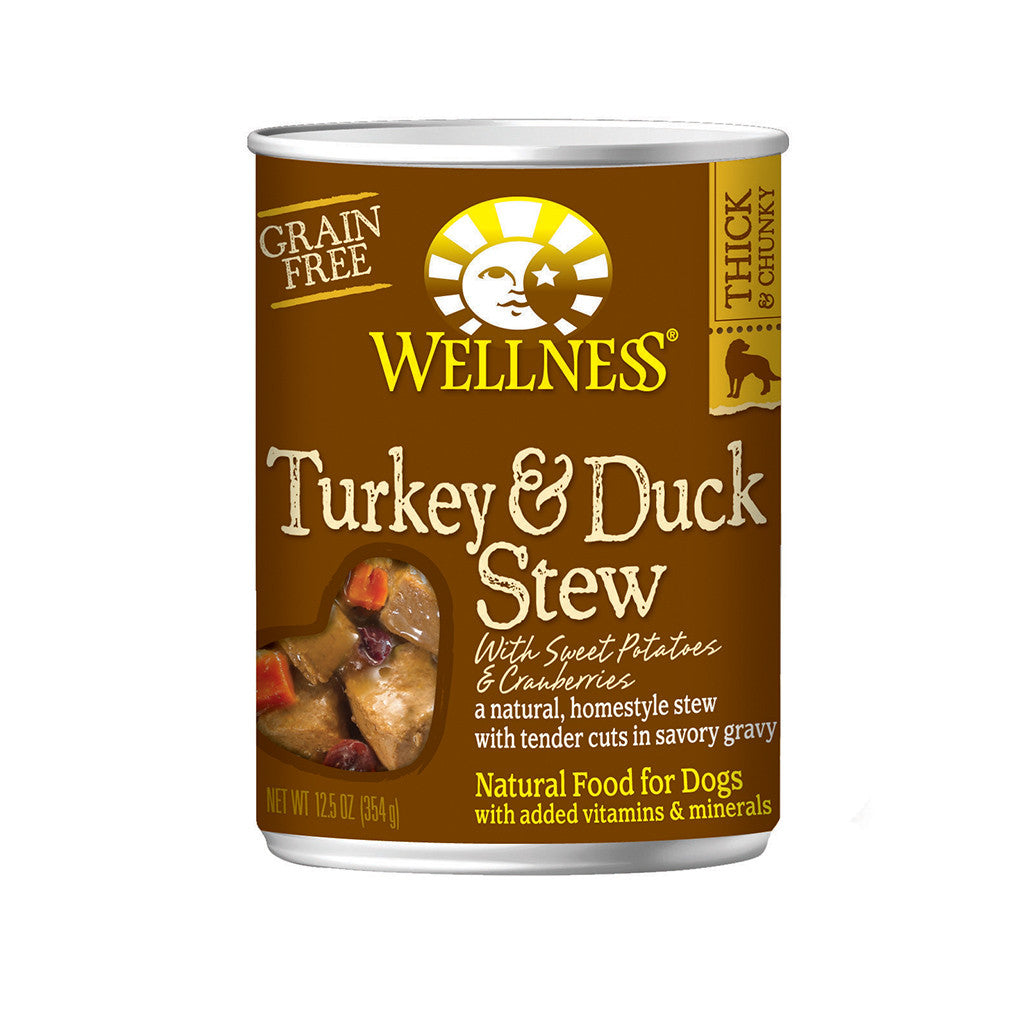 30% OFF + FREE TREATS: Wellness® Homestyle Turkey & Duck Stew Grain-Free Canned Dog Food 354g (12/24pcs)