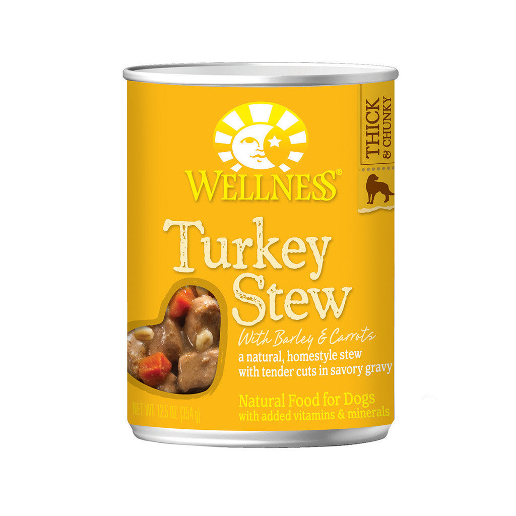 30% OFF + TREATS: Wellness® Homestyle Turkey Stew with Barley & Carrots Grain-Free Canned Dog Food 354g (12/24pcs)