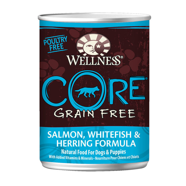 30% OFF + FREE TREATS: Wellness® CORE Salmon, Whitefish & Herring Grain-Free Canned Dog Food 354g (6/12/24pcs)