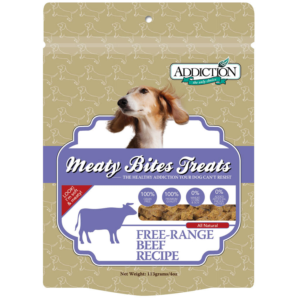 3 FOR $22 [SAVER]: Addiction® Meaty Bites Grain-Free Dog Treats 113g (4 Flavours)