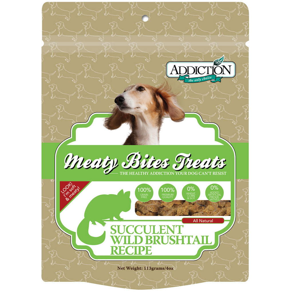3 FOR $22 [11.11 SALE]: Addiction® Meaty Bites Grain-Free Dog Treats 113g (4 Flavours)