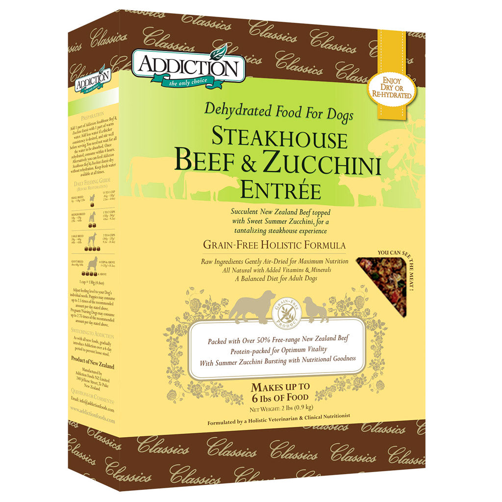 25% OFF + FREE CAN: Addiction® Raw Dehydrated Steakhouse Beef & Zucchini Grain-Free Dry Dog Food (2 sizes)