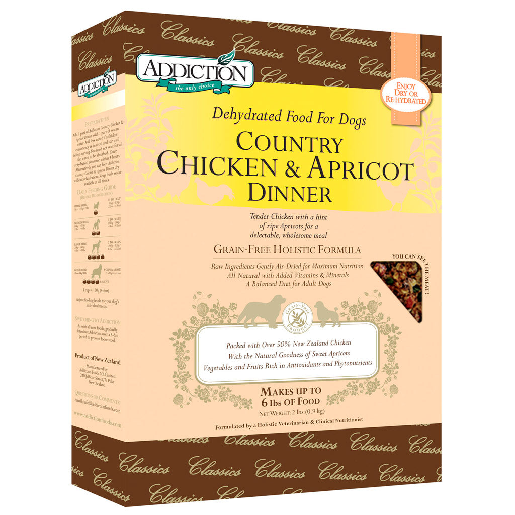20% OFF: Addiction® Raw Dehydrated Country Chicken & Apricot Dinner Dry Dog Food (2 sizes)