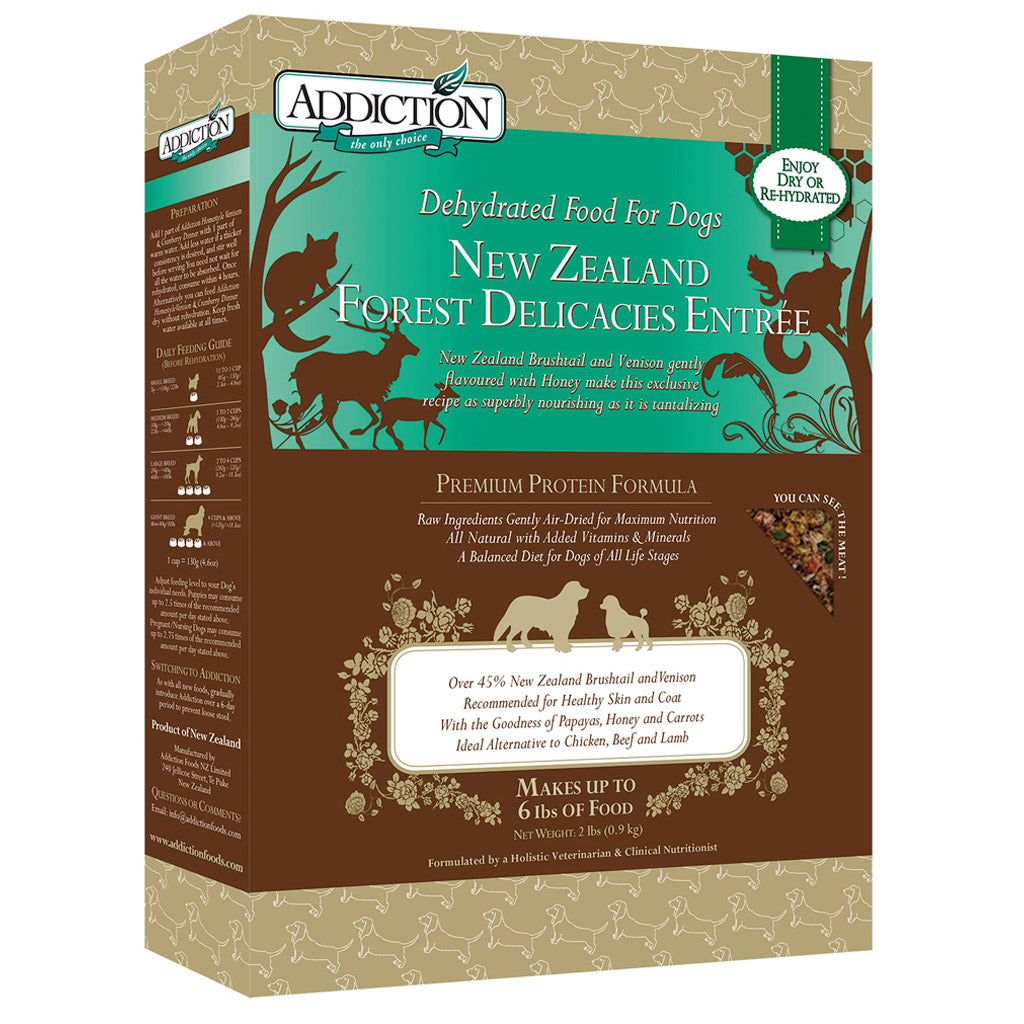 20% OFF: Addiction® Raw Dehydrated NZ Forest Delicacies Dry Dog Food (2 sizes)