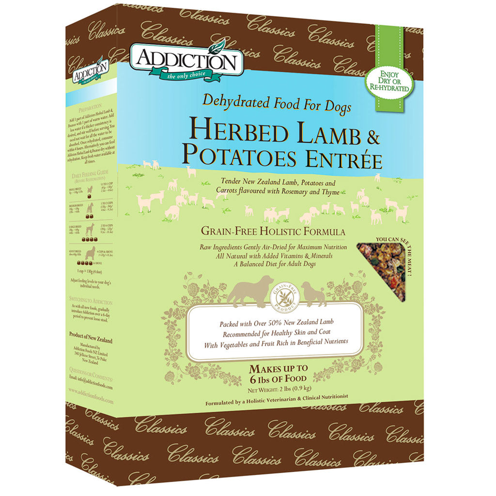 25% OFF + FREE CAN: Addiction® Raw Dehydrated Herbed Lamb & Potatoes Grain-Free Dry Dog Food (2 sizes)