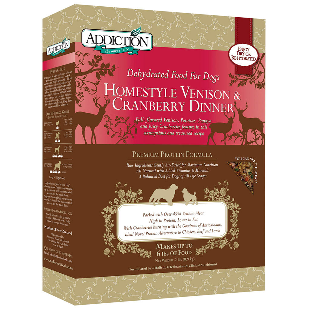 20% OFF: Addiction® Raw Dehydrated Homestyle Venison & Cranberry Dinner Dry Dog Food (2 sizes)