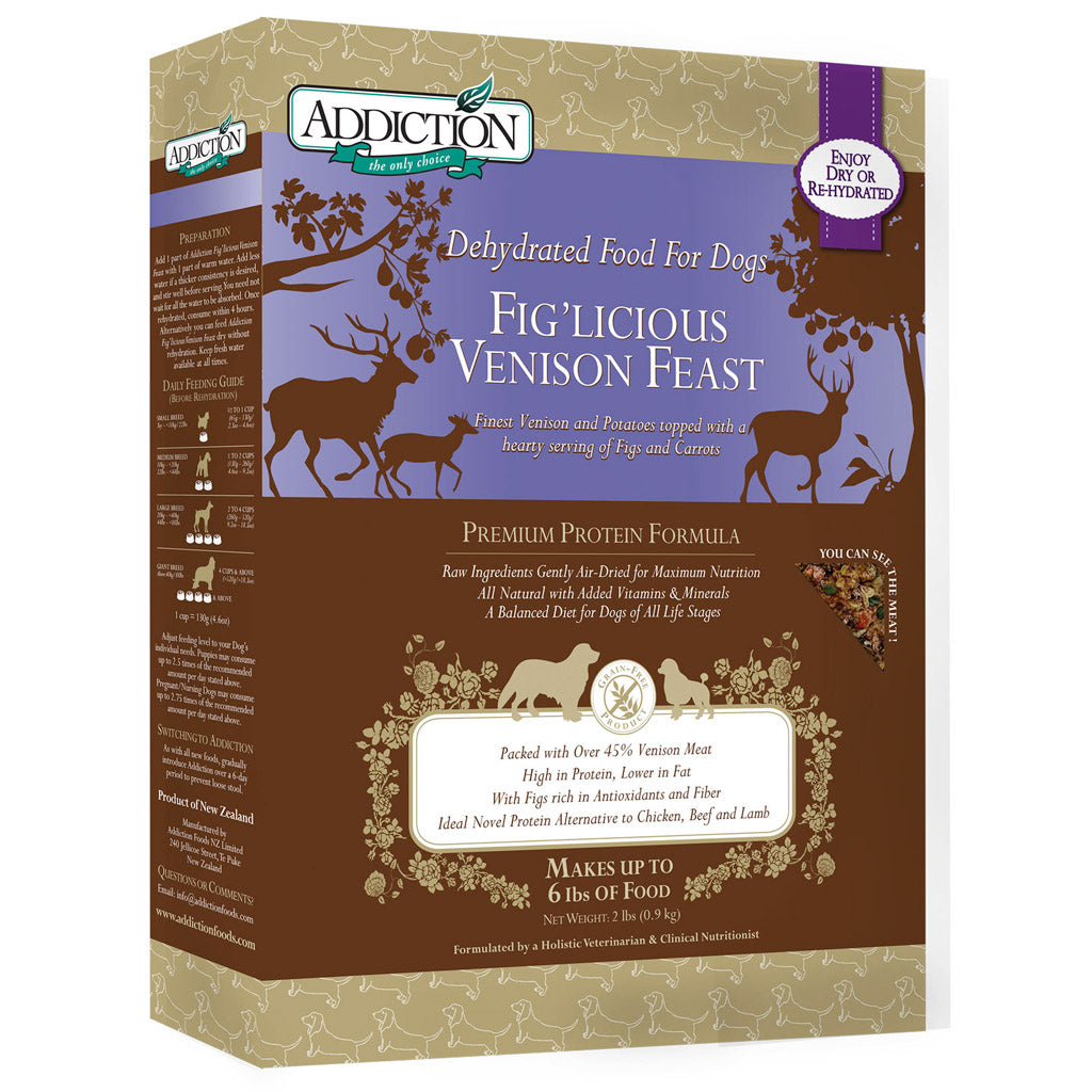 25% OFF + FREE CAN: Addiction® Raw Dehydrated Fig'licious Venison Feast Dry Dog Food (2 sizes)