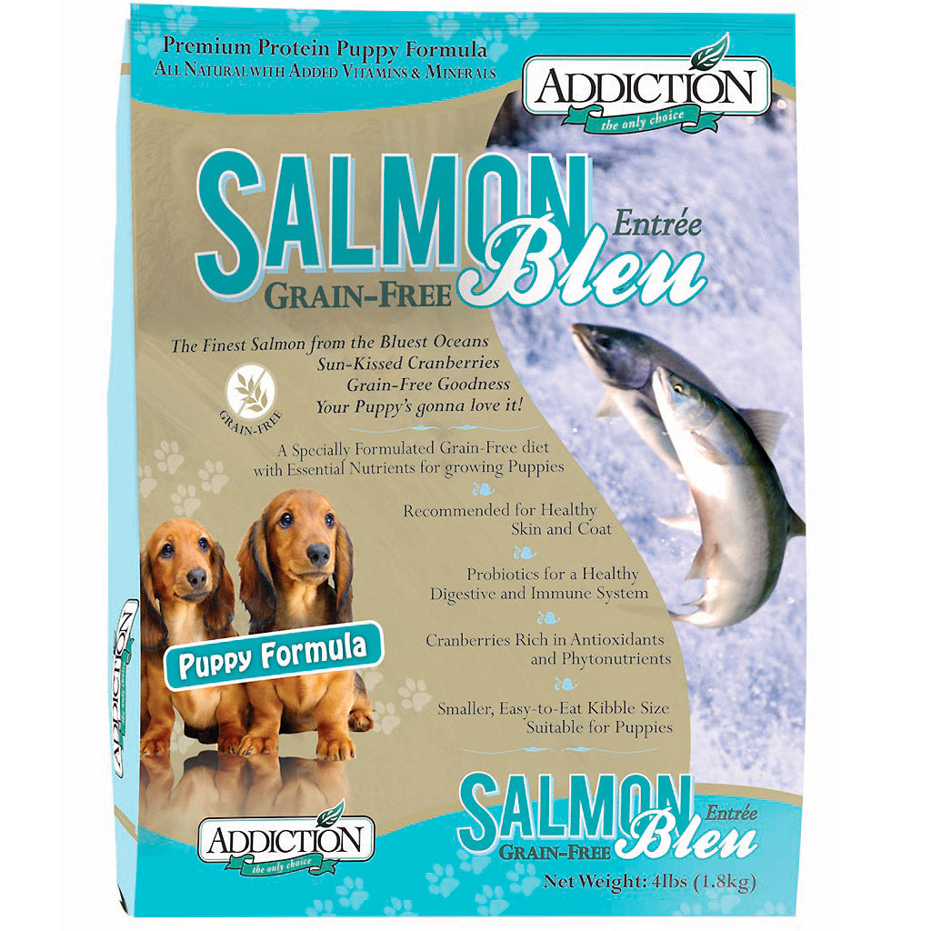 20% OFF + FREE TREATS: Addiction® Salmon Bleu Puppy Grain-Free Dry Dog Food (2 sizes)