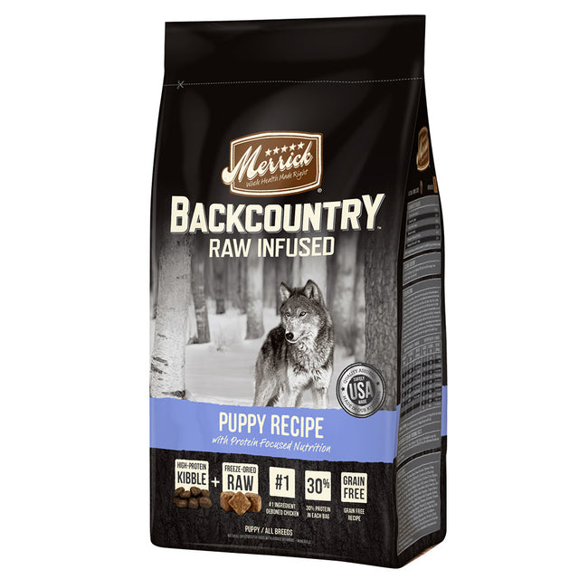 55% OFF + FREE TOY [SAVER BUNDLE]: Merrick® Backcountry Raw Infused Puppy Grain-Free Dry Dog Food (2 sizes)