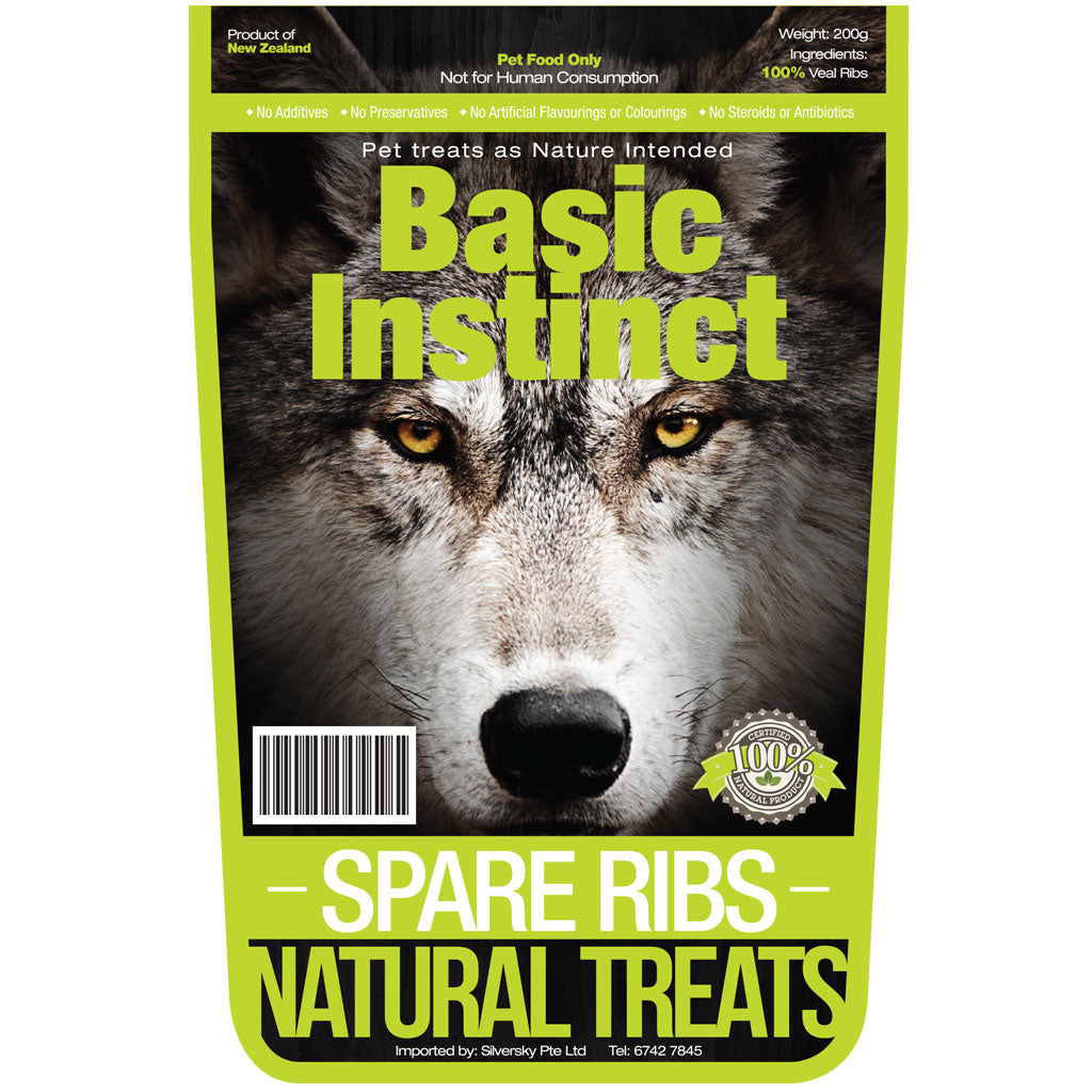 15% OFF [NEW]: Basic Instinct® All Natural Spare Ribs Dog Treat 500g