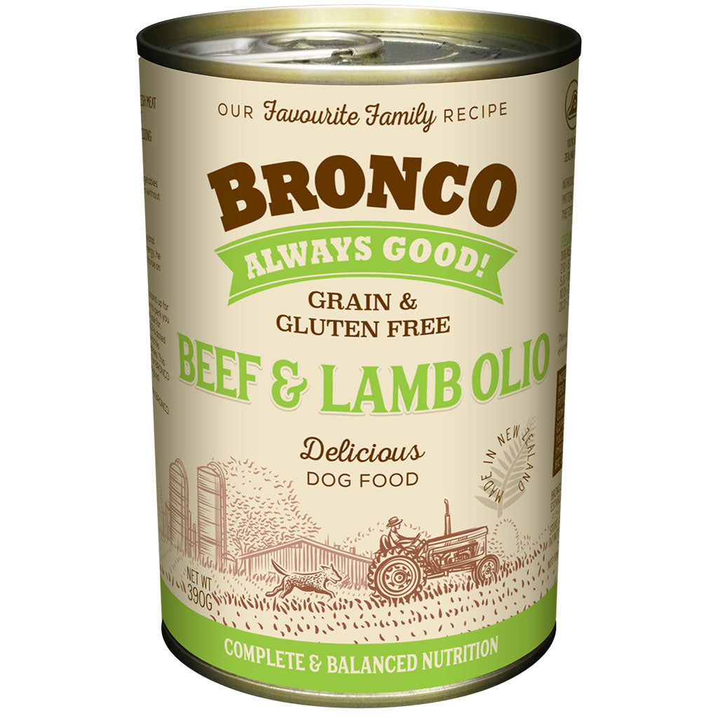 12 FOR $30 [10.10]: Bronco Beef & Lamb Olio Grain-Free Wet Dog Food 390g